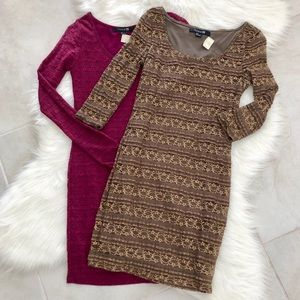 Magenta & Bronze Dress Bundle, size small